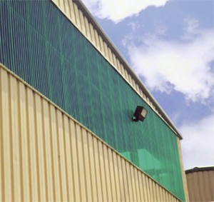 Polycarbonate panels used as sidelights in a warehouse